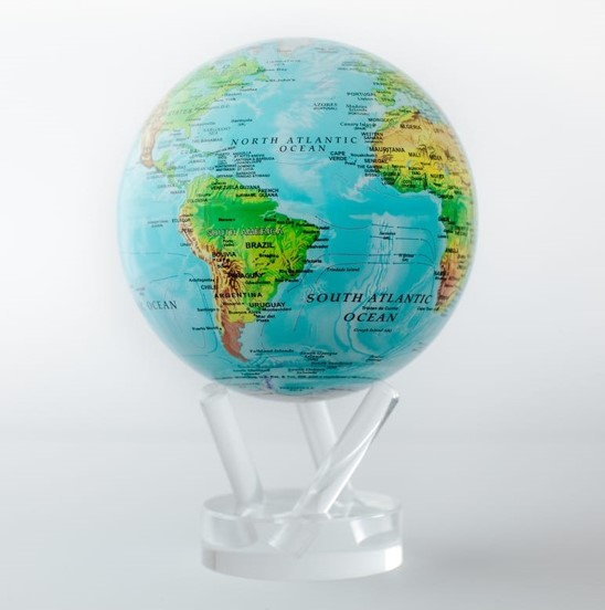 Mova Globe Blue with Relief Map
